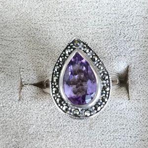 Amethyst & Marcasite Teardrop Ring - Size 6